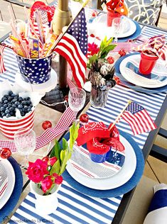 Fun table scape ideas for the of July! >>>>>>>>>>> For great July recipes visit – … Fourth Of July Decor, 4th Of July Celebration, 4th Of July Decorations, 4th Of July Party, July 4th, Table Decorations, Outdoor Decorations, Table Centerpieces, Wedding Centerpieces
