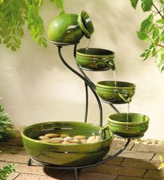 Green tabletop fountain