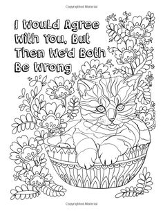 Hater Cats: An Insult Kitten Adult Coloring Book: A Healthy Way To Unleash Stress Blank Coloring Pages, Quote Coloring Pages, Dog Coloring Page, Free Adult Coloring Pages, Doodle Coloring, Animal Coloring Pages, Coloring Sheets, Coloring Books, Singing Monsters