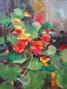 "Nasturtiums by Mary Maxam Oil ~ 9"" x 6"""