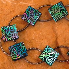 Fused Glass Link Bracelet  Dichroic Fused Glass Link by GlassCat, $30.00 full-time-etsy-crafters