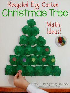 Still Playing School: Egg Carton Christmas Tree Math Puzzle