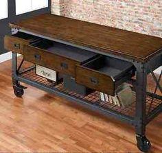Garage Work Bench Vintage Industrial Workshop Tools Wood Metal Storage Table