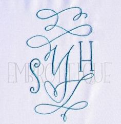 Monogram Sets :: Courtly Calligraphy Stunning Ornamental Monogram Set - Embroitique.com