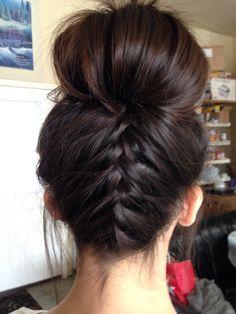 Hairrr... Was bored and did my neighbors hair :) upside down French braid bun :)