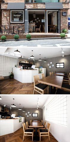 [No.92 ES Cafe] 예쁜 커피숍 인테리어 디자인 10평, 타일 헤링본