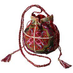 Bag【ELLE SHOP】フラワー刺しゅう巾着ショルダーバッグピンク×カーキ|スターメラ(STAR MELA)|ファッション通販... ❤ liked on Polyvore featuring bags, handbags, tote bags, accessories, purses, bolsos, bolsas and mela loves london