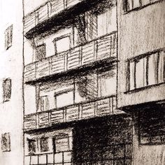 '30 #housing complex by Giuseppe Terragni & Pietro Lingeri ___  #archmazelab #architecture #architect #freehand #handmade #charcoal #sketches #sketch #illustration #art #drawing #milan #expo #expo2015 #art #pointofview