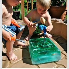 Freeze toys in colored water and let kids bang on it with toy tools to stay cool and busy in summer.