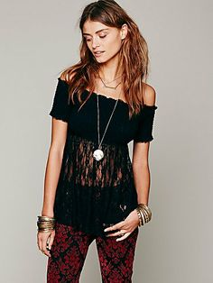 Free People Sheer Smocked Bodice Cami ~silvernarnia~