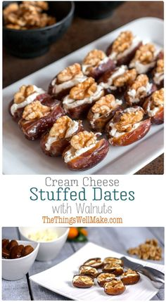 Quick, simple, yet elegant, these cream cheese stuffed dates with walnuts are highly customizable and are the perfect addition to your holiday appetizer lineup. #thethingswellmake #miy #dates #appetizers #horsdoeuvres #holidaycuisine #holidayfood #partyfood