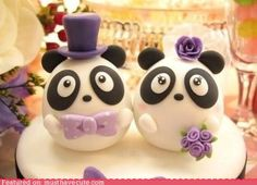 Panda Wedding Cake Topper (this would work well for an AOII/Fiji marriage, lol purple and panda :))