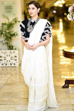 Mahira Khan is a perfect combination of beauty and talent. The actor looked ethereal in a monochrome saree for promotions. Churidar, Anarkali, Lehenga, Saree Wearing Styles, Saree Styles, Blouse Styles, Sari Blouse Designs, Fancy Blouse Designs, Blouse Patterns
