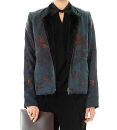 By Walid Vintage embroidered fur-lined jacket came to stock on Dec 1 2013 | A petrol-blue jacket using vintage 19th Century Chinese silk featuring dark green and dark-brown pelican bird embroidery | Vintage Chinese silk, reconditioned second hand mink fur | $4923