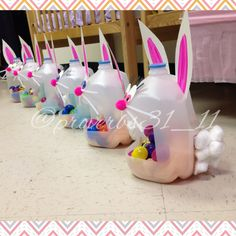 Milk gallon Easter baskets. Poster board ears and eyes for durability. You can even sponge paint with pastel colors for variety.