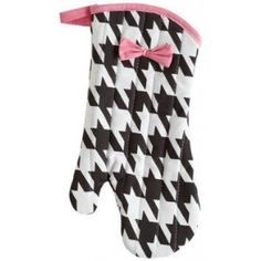 JESSIE STEELE Linen BLACK & CREAM WOVEN HOUNDSTOOTH OVEN MITT w/ PINK Bow Nice gift $10