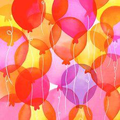 Margaret Berg Art: Pink+Yellow+Balloons