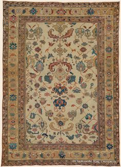 """SULTANABAD, 8' 9"""" x 12' 0"""" — Circa 1850, West Central Persian Antique Rug - Claremont Rug Company"""