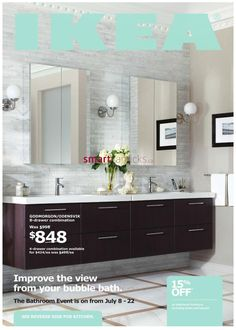"""Ikea """"Godmorgon/Odensvik"""" sink cabinets with four drawers and """"Lillholmen"""" wall lamps and """"Dalskar"""" bath faucets and """"Godmorgon"""" mirror cabinets with two doors"""
