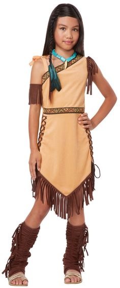 Native American Princess Child Costume Includes: tan dress with brown fringe, armband and boot tops. Does not includes necklace, hair feather or shoes. Weight (lbs) 0.62 Length (inches) 14 Width (inch