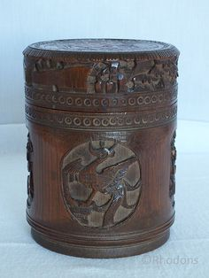 Antique Chinese Carved Bamboo Tea Caddy Oriental bamboo Tea caddy or lidded pot believed to be of Chinese origin.