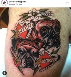 Boxer Dog Tattoo, Boxer Dogs, Traditional Tattoo, Skull, Tattoos, Animals, Tattoo Traditional, Tatuajes, Animales