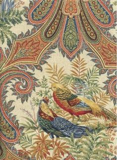 Kaufmann Paisley fabric with pheasants is perfect for curtain fabric, toss pillows, cushions, a bedspread or use as a light upholstery fabric.