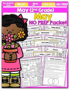 Teach basic math operations, sight words, phonics, grammar, handwriting and so much more with the May NO PREP Packet for Second Grade!