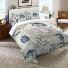 """A vintage coastal-themed duvet featuring coral and and soft, green sea creatures and shells. Laural Home's """"Seaside Postcard Duvet"""" is a lovely addition to any nautical bedroom decor. All of our produ Beach Bedding, Coastal Bedding, Coastal Bedrooms, Coastal Decor, Luxury Bedding, Unique Bedding, Coastal Living, Tropical Bedding, Rustic Bedrooms"""