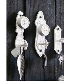 Victorian Doorplate Hooks- set of 3 - Wall Decor and Accents