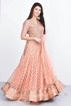 JIYA BY VEER - peach lehenga set with gota lace embroidery