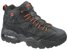 Harley-Davidson Crossroads Men's Lace up Boot Features a nylon mesh and leather upper as well as a cushion sock lining that runs the full length of the boot. It also has a midsole of EVA with an airbag cushion. The rubber outsole resists chemicals, oil and water and has construction of cement. Available sizes: 9-10-11-12