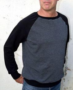 Sweat shirt raglan pour nos Hommes!!! Patron PDF en taille réelle, explications détaillées et imagées. Tailles : XS à XXL (attention coupe près du corps) Difficulté : Sweat Shirt, Tee Shirts, Tees, Men Sweater, Boutique, Sewing, Long Sleeve, Sweaters, Mens Tops