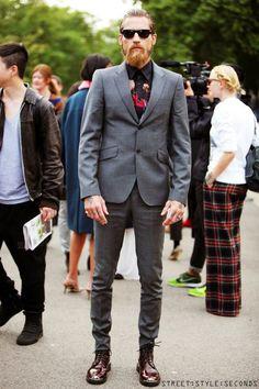 justin o'shea - grey blazer, patent oxblood shoes