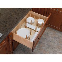 Peg System Kitchen Drawer Organizer Inserts, Rev-a-Shelf Series Wood Drawers, Large Drawers, Kitchen Drawers, Cabinet Drawers, Small Cabinet, Dish Drawers, Deep Drawer Organization, Kitchen Cabinet Organization, Storage Cabinets
