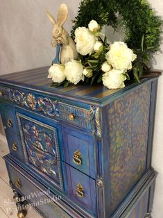 This item is unavailable Gold Painted Furniture, Hand Painted Dressers, Purple Furniture, Painted Trunk, Chalk Paint Furniture, Refurbished Furniture, Furniture Makeover, Gold Leaf Furniture, Diy Furniture