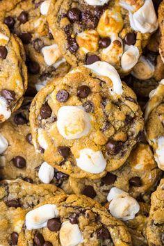 S'mores Chocolate Chip Cookies are thick, chewy, and loaded with so much gooey goodness. Easy to make and no chilling required! S'mores Chocolate Chip Cookies are thick, chewy, and loaded with so much gooey goodness. Easy to make and no chilling required! Baking Recipes, Cookie Recipes, Pasta Recipes, Yummy Treats, Yummy Food, Tasty, Sweet Treats, How Sweet Eats, Cookies Et Biscuits