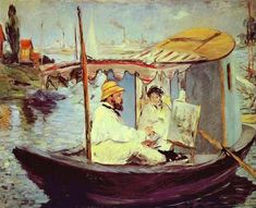 """""""Claude Monet in his Studio Boat"""" by Edouard Manet, 1874"""