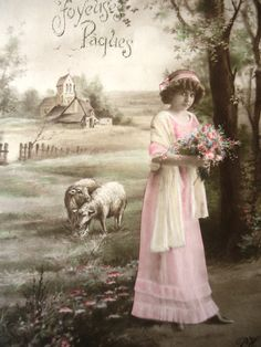 Antique Easter postcard - Little girl Edwardian dress, flowers ribbon, lambs sheep meadow, spring landscape house, french hand tinted, 1900