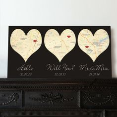 Heart Shaped Map Art with YOUR Three locations Where We Met, engaged and married, Cotton Anniversary Gift, Wedding gift for Couple