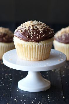 Almond Cupcakes with Chocolate Coconut Buttercream - surprisingly GOOD.