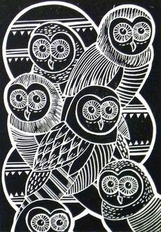 Owls Lino Cut Print