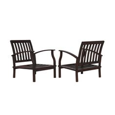 Allen Roth Set Of 2 Gatewood Brown Aluminum Slat Seat Seat Patio Chairs  Without Cushions