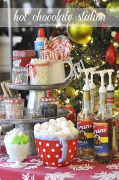 Put together a Hot Chocolate Station for your next holiday party - it will be a hit of the party!!