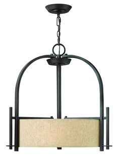 Hinkley Lighting 4542 3 Light Indoor Drum Pendant from the Sloan Collection Regency Bronze Indoor Lighting Pendants