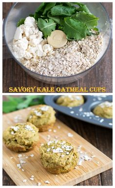 Savory Kale Oatmeal Cups! Ready in just 4 easy steps. Quick, healthy and vegan breakfast.