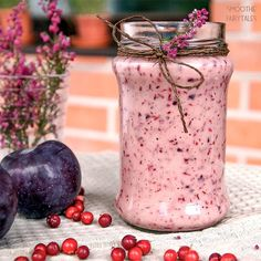 Healthy and delicious lingonberry & plum smoothie recipe. It's packed with vitamins and antioxidants: exactly what we need during the cold fall/winter days!