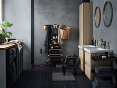 Bathroom decor from IKEA - Inredningsvis Ikea Bathroom Shelves, Grey Bathroom Cabinets, Laundry In Bathroom, Small Bathroom, Cement Bathroom, Bathroom Bin, Bathrooms, Ikea Interior, Bathroom Interior Design