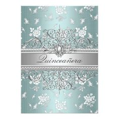 Blue Pearl & Rose Quinceanera Announcements