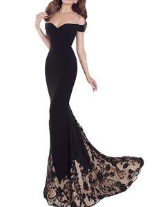 Black Prom Dresses,Mermaid Prom Dress,Off the shoulder prom dress,Sexy dress,Tight prom dress,Lace Prom Dress